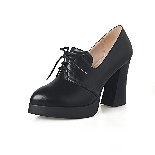 Zapatos Cordón Punta Negro En Puntera PU AllhqFashion nbsp;Tacón alto Mujer Material nbsp;de mezclado Tacón wpgRz