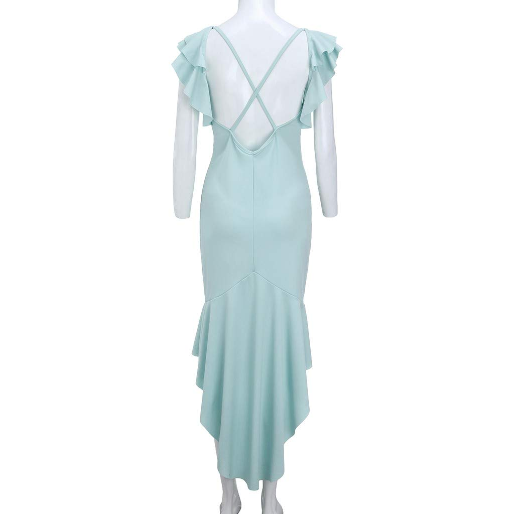 Staron  Backless Dress Fashion Women Cross Back V Neck Dress Ladies Sleeveless Ruffle Irregular Hem Summer Long Dress