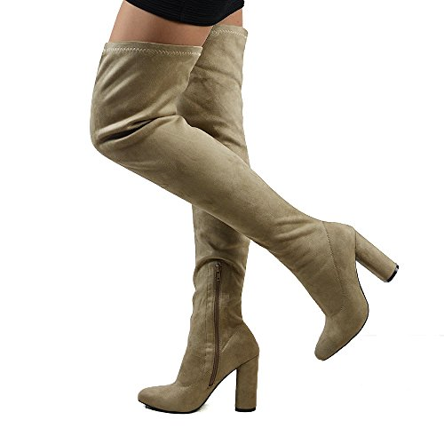 ESSEX Boots New The Ladies Round Over GLAM Knee Long Faux Suede Taupe Heel Stretch Thigh Womens High Leg 66RAUqwxfr
