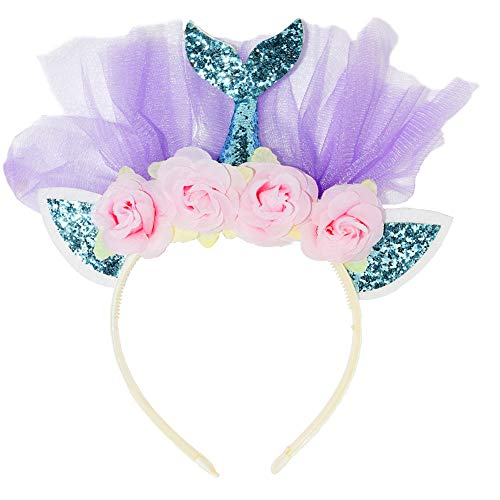 Maticr Glitter Birthday Girl Mermaid Headband Mermaid Tail Tulle Head Band Under The Sea Party Headwear (Blue & Floral)