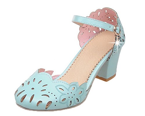 CA18LB04780 Toe Kitten Buckle Pu Women's Blue Sandals Closed Solid Heels WeenFashion wqfzxE
