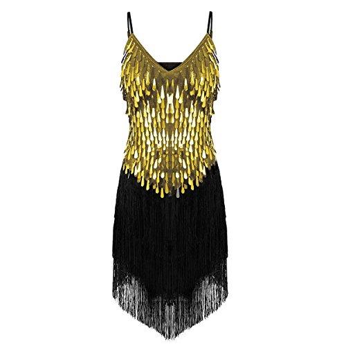CHICTRY Women's Sequin Fringe Tassels Ballroom Samba Tango Latin Dance Dress Black&Gold One Size