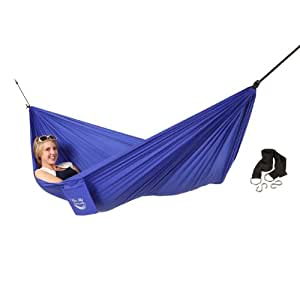 Blue Sky Outdoor Single Ultralight Hammock with Free Tree Straps, Blue