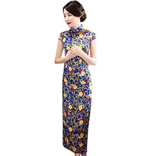 Lange Qipao Robe Gedruckt Frauen 03 Blumen Meijunter Traditionell Kleid Seide Abendkleid Elegant Cheongsam Slim q6RwFxvz
