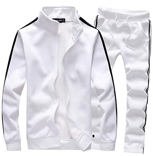 GRMO Men Classic Baseball Full-Zip Sweatsuit Two Pieces Tracksuits White US 2XL ()