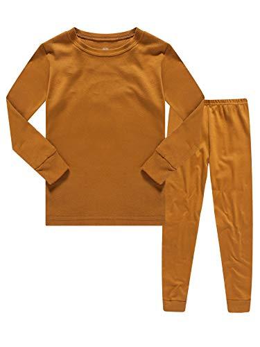 (Kids Pajamas Boys & Girls Solid Colors 2 Piece Pajama Set 100% Cotton Size)