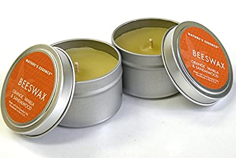 Beeswax Candle Tin/4oz. 2pcs/Set , Extraordinary Burn Time Orange ,Vanilla & Sandalwood Beeswax Travel Tin Candle ,Enjoy the Sweet and Earthy Aroma of 100% Pure, Raw Beeswax Candles - Travel Tin Scents