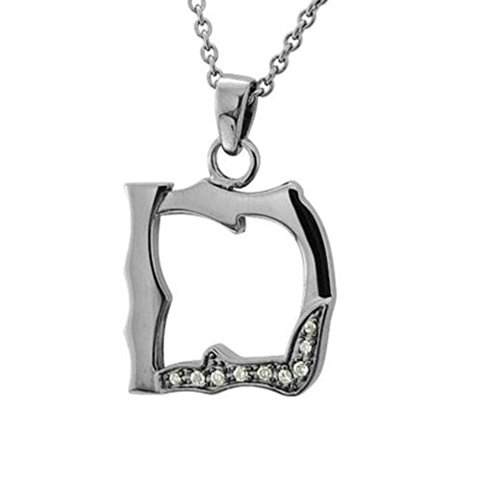 Men's Black Sterling Silver Alphabet Initial Letter D Diamond Pendant Necklace (0.06 Carat)