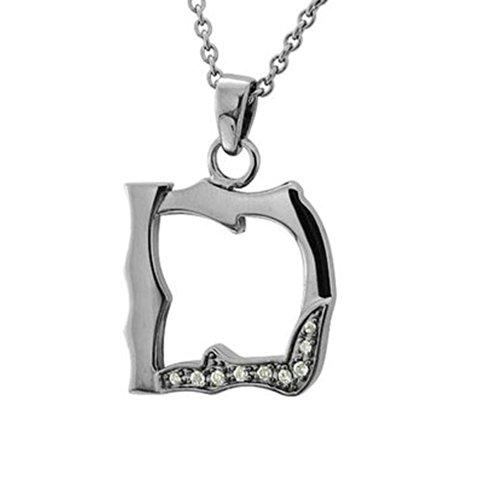 Men's Black Sterling Silver Alphabet Initial Letter D Diamond Pendant Necklace (0.06 Carat)