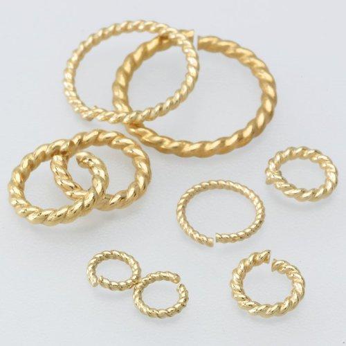 14K Yellow Gold 8mm Round Twist-Wire Jump Ring 14k Yellow Gold Twist Wire