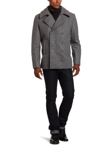 Alpha Industries Men's Ensign Pea Coat, Light Grey, XX-Large at ...