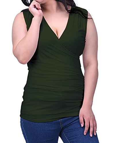 Green Sleeveless Cotton Shirt (HDE Womens V Neck Ruched Sleeveless Tank Top Surplice Slimming Wrap Sexy Blouse (Olive Green, Medium))