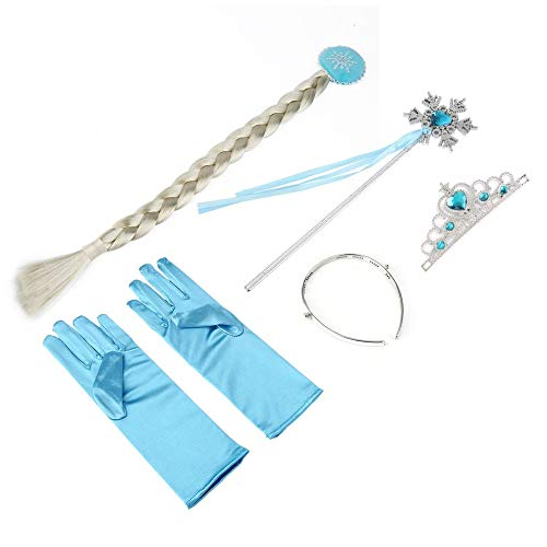 LySanSan - 5Pcs/set Kids Cosplay Crown Tiara Hair Accessory Crown Wig +Magic Wand For Elsa Anna Great Costume for Party Performance