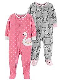 Carter's Baby Girls' 2-Pack Fleece Footed Pajamas