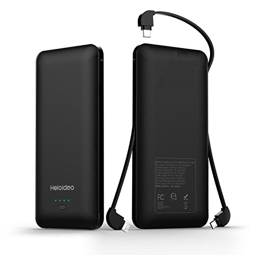 Heloideo 10000mAh Portable Charger Power Bank External Battery Pack with Micro Type-c Cables for Cellphone?Black?