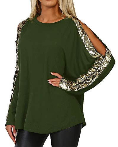 YOINS Sequin Sparkle Tops for Women Cold Shoulder Long Sleeves Round Neck Loose Casual Pullovers Cut Out Shirts Blouses New-Army Green L