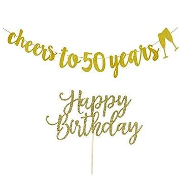 Cartel de 50 cumpleaños con decoración para tarta de 50 ...