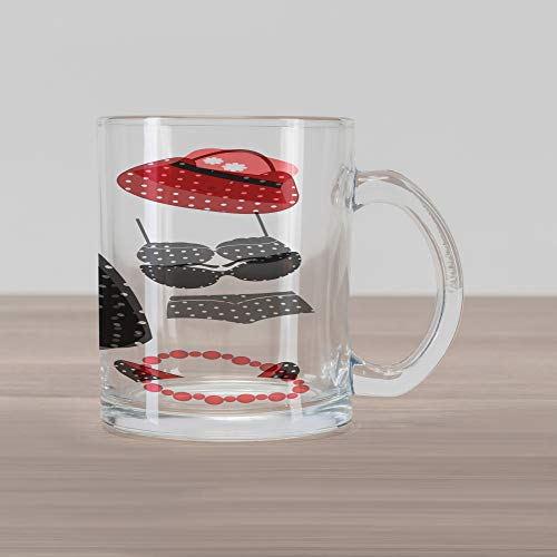 Lunarable 1950s Glass Mug, Fifties Style Collection Female Fashion Dress Bag Hat Heels Shoes Sunglasses, Printed Clear Glass Coffee Mug Cup for Beverages Water Tea Drinks, Red Black White