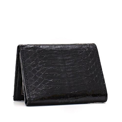 Implora Genuine Cobra Snakeskin Leather Trifold Wallet Black - Belly Cobra Snakeskin Leather