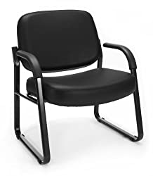 Ofm Big & Tall Reception Chair With Arms - Anti-microbialanti-bacterial Vinyl Mid-back Guest Chair, Black (407-vam)