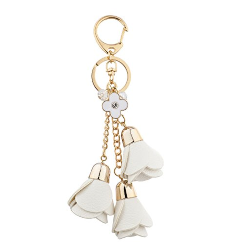 Lux Accessories Gold Tone and White Tulip Cluster Bag Charm Keychain