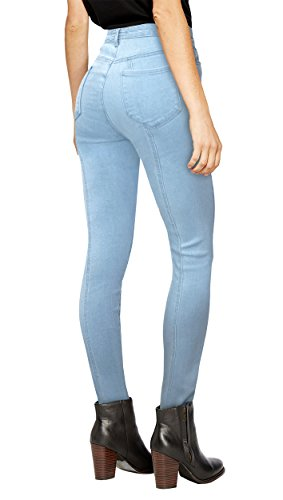 Womens Super Stretch 5 Button Hi Waist Skinny Jeans P43250SK Light Wash (Fashion Wash Jeans)