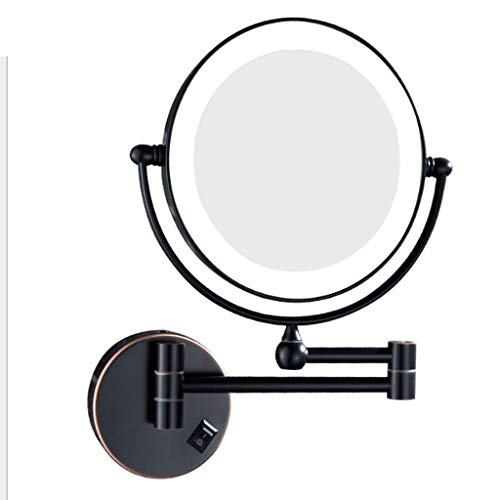 (Bathroom Vanity Mirrors Wall Mounted Makeup Mirror Zoom 3/5/7/10 X Upgraded 8-Inch LED vanity mirror Enlarged Wall Mount Makeup Mirror with Magnification Double-Sided Swivel Mirror Polished Chrome Fin)