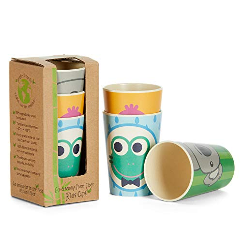 Coocootsa Drinking Cup Set for Kids - 3-Piece Colorful Toddler Cups Set - Frog, Koala and Bird Funny Design - Eco-Friendly and Reusable - Bamboo Fiber - Original Baby Shower Gift