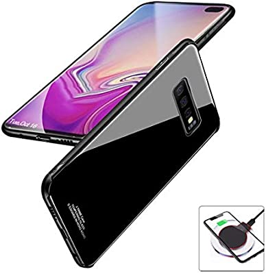 evershare Galaxy S10 Plus Case Tempered Glass Back Soft TPU