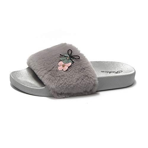 FORUU Womens Ladies Slip On Sliders Fluffy Faux Flat Slippers Flip Flop Sandals