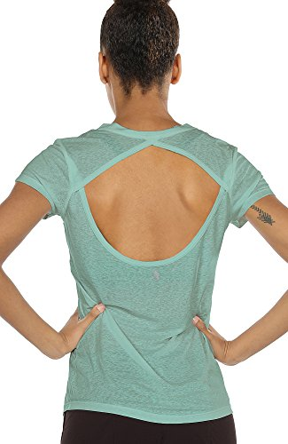 icyzone Open Back Workout T-Shirts for Women - Running Gym Shirts Yoga Tops Exercise Short Sleeves (XL, Agate Green) ()