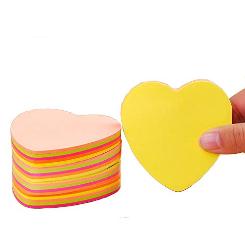 Guzon Heart Shape Sticky Notes, Memo Notes 3 x 3-Inches,100 Sheets Per Pad Pack of 6 ()