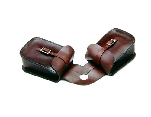 (Tough-1 Leather Basket Tooled Saddlebag)