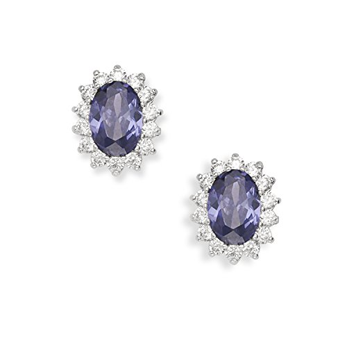 Sterling Silver Oval Created Sapphire Tanzanite Rainbow CZ Princess Diana Kate Middleton Earrings
