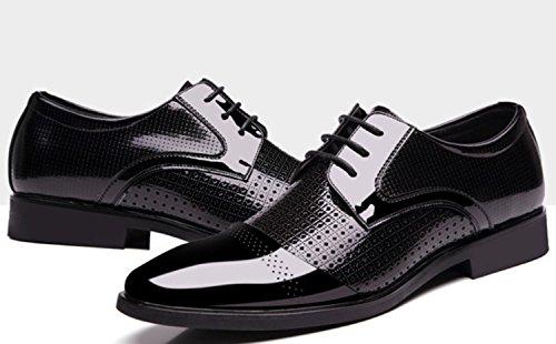 CSDM Pelle di cuoio genuino di cuoio genuino di affari degli uomini del New England di ha puntato i pattini casuali di cerimonia nuziale delle scarpe singole di formato grande , black , 44
