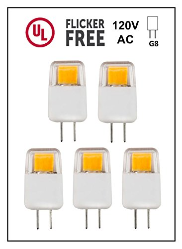 CBConcept UL-Listed, G8 LED Light Bulb, 5-Pack, Epistar COB 1.7 Watt, 220 Lumen, NOT Dimmable, Pure White 6000K, 360°Beam Angle, 20W Equivalent, Under Cabinet/Counter Puck Kitchen Light