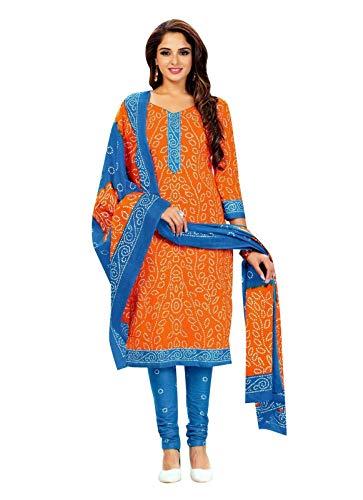 Ladyline Readymade Bandhej Printed Pure Cotton Salwar Kameez Dress Indian (Size_50/ Orange)