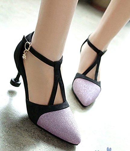 IDIFU Womens Sexy Sequined Mid Kitten Heels Ankle Strap Pumps Shoes Purple KTK1Da9x3m