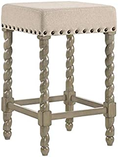 product image for Carolina Chair & Table Remick 24 Inch Counter, Weathered Gray/Linen Stool