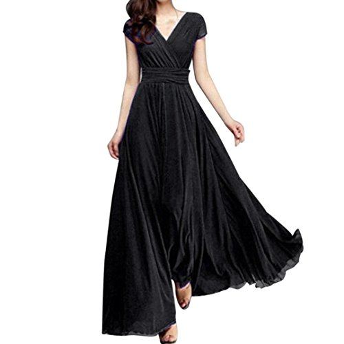 Exotic Cocktail Dresses - New Party Evening Dress ! Fashion Women Casual Solid Chiffon V-Neck Evening Party Long Dress Loose Dress by SanCanSn (Black,2XL)