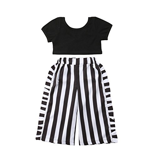 Toddler Baby Girls T-Shirt Crop Tops+Striped Long Pants Kids Summer Fall Outfits Clothes 2PCS Set 1-6T