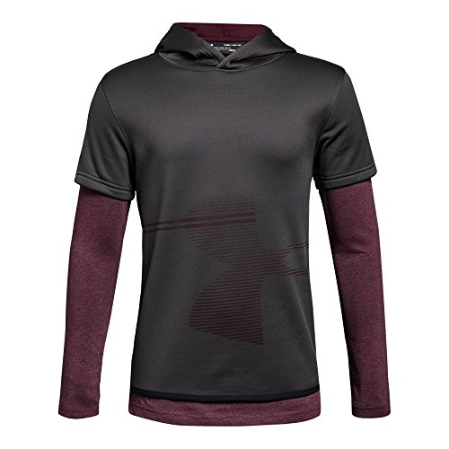 Under Armour Boys Armour Fleece 1.5 Layered Hoodie, Charcoal (019)/Dark Maroon, Youth Small