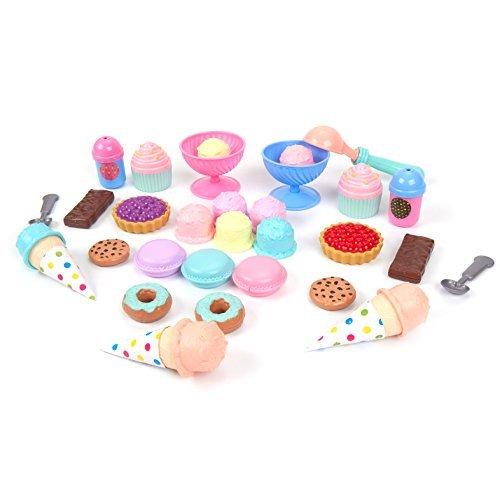 Kinder Toys - Juego de Comida para Juguetes (30 Piezas), con Crema de Hielo, Donuts, macarones, Barras de Chocolate, Galletas