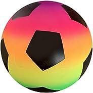 Newooh 9 Inch Rainbow Soccer PVC Playground Ball for Kids Bouncy Kick Ball for Backyard Park and Beach Outdoor