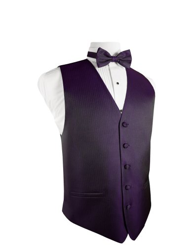 (Cardi Men's Herringbone Tuxedo Vest and Bowtie, Medium, Plum)