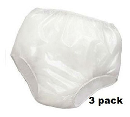 3PK Adult Waterproof Soft Vinyl Plastic Pant Diaper Incontinent (Adult Small Fits 20