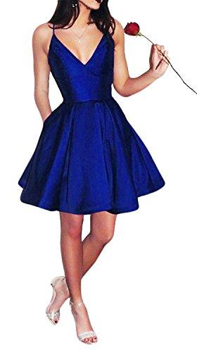 Yangprom Short Spaghetti Straps V-Neck A-line Homecoming Dress with Pockets (2, Royal Blue)