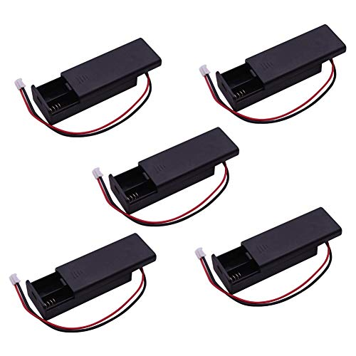 (WIshioT 5pcs 2 AAA Battery Holder Case Shell Box 3V PH2.0 with Wire Leads and ON/Off Switch, Power for BBC Micro:bit microbit Kids Python Education)