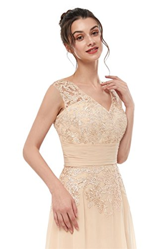 b4989e66883b Women's Beige Double V-Neck Cap Sleeves Long Chiffon Mother of Bride Dresses  Empire Waist