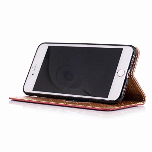Yiizy Apple IPhone 7 Plus Custodia Cover, Amare Design Sottile Flip Portafoglio PU Pelle Cuoio Copertura Shell Case Slot Schede Cavalletto Stile Libro Bumper Protettivo Borsa (Rosso)